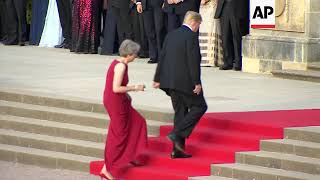 Trumps arrive at Blenheim Palace for dinner with UK PM May