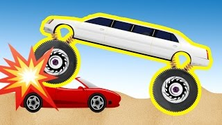 BUILD Limousine Monster truck Destroyer and JUMPING on road