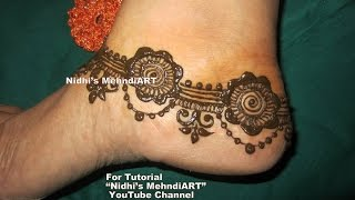 Beautiful ANKLET Feet Ornament Inspired Henna Mehndi Design Tutorial