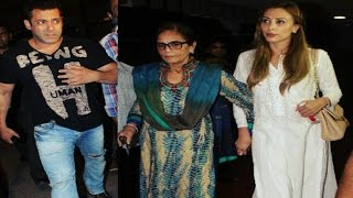 Salman Khan & GIRLFRIEND Iulia Vantur with mother Salma Khan at Mumbai Airport