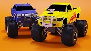 Monster Trucks Races Cartoon   Cars for kids   Educational Video for Children by Bambo-Jambo