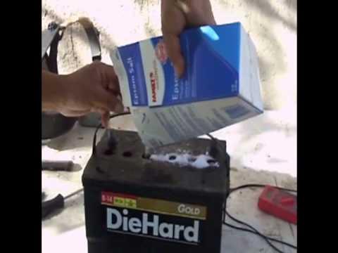 Como reparar una bateria con sal y agua facil y rapido tutorial