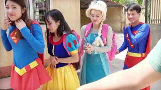 Movie Maleficent Funny w/ Snow White vs Supper Girl! Superhero In real Life