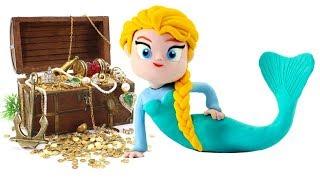 Frozen Elsa Mermaid & Princess Ariel The Little Mermaid Play Doh Cartoons Stop Motion Animations