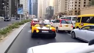 Lamborghini avenatador car burning in Dubai recent