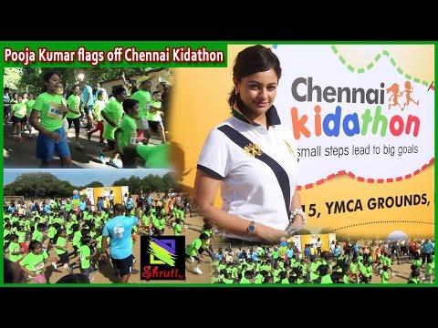 Actress Pooja Kumar flagging off Chennai Kidathon
