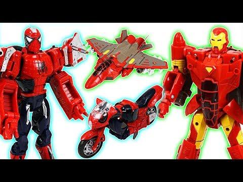 Marvel Spider Man, Iron Man, Captain America transformers! Defeat the dinosaurs! - DuDuPopTOY