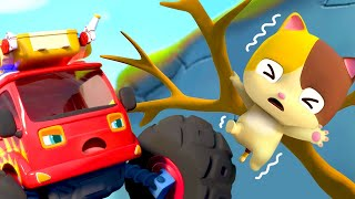 Monster Fire Truck Saves Mimi | Outdoor Playground Song | Nursery Rhymes | Kids Songs | BabyBus
