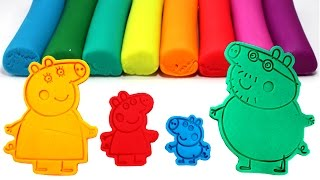 PEPPA PIG Family Play-Doh Molds Learn Colors with Peppa, George, Mummy Pig and Daddy Pig