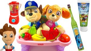 Paw Patrol Skye and Chase Eat Fruits & Vegetables & Brush Their Teeth