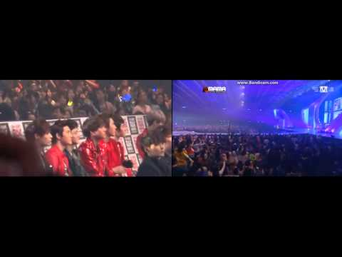 121130 MAMA EXO reaction (for Suzy Miss A : 수지) During B.o.B's 'Nothin' On You' ft.K.Will