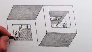 How to Draw an Easy Optical Illusion: Two Cubes sharing One Side