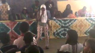 Girl in Hijab on stage miming SESSA Day 2013, Lagos Stage Polytechnic, IKD Campus..3GP