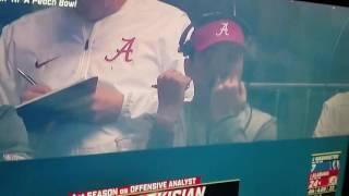 Alabama coach Steve Sarkisian picks nose and eats booger