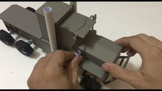 RC Homemade   How to make 6x6x6 OPTiMUS Semi Truck Launches RC container truck from cardboard