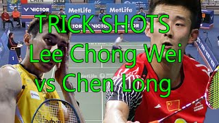 BADMINTON TRICK SHOTS - LEE CHONG WEI VS CHEN LONG? WHO IS THE BEST?