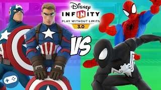 Team Captain America VS Team Spiderman Marvel Battlegrounds Versus Disney Infinity 3.0