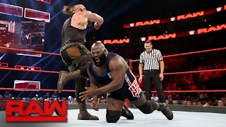 Mark Henry vs. Braun Strowman: Raw, Feb. 13, 2017
