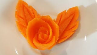 Carving #01 Mengukir Bunga dan Daun dari Wortel - Art FRUIT CARVING Carrot Rose and Leaf