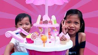 Mainan Anak Ice Cream Cart Toys Jualan Es Krim Cone Popsicle Lolipop Drama Anak Kakak Sayang Adik