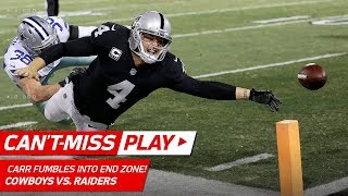 Derek Carr Dives for TD, But Fumbles Out of End Zone to End Game!   Can