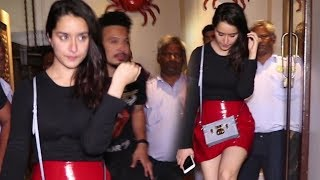 Cute Shraddha Kapoor With Out Make Up In Short Red Skirt With Ranveer Singh At  BASTIAN BANDRA
