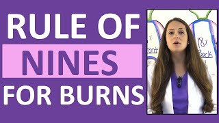 Rule of Nines for Burns in Adults Nursing NCLEX Lecture w/ Examples