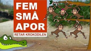 Fem små apor (retar krokodilen) | Barnsånger på svenska