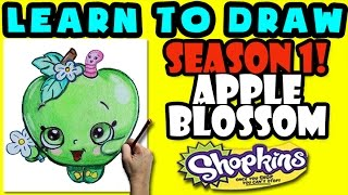 How To Draw Shopkins SEASON 1: Apple Blossom, Step By Step Season 1 Shopkins Drawing Shopkins