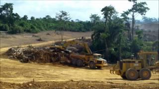 Pioneer Equipment's grader, excavator & dumper clearing a road in GHANA.