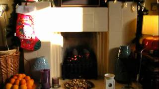 Living Fireplace Christmas Scene George Michael - December song  I dreamed of Christmas