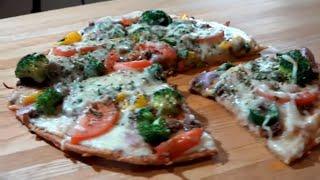 Almond Flour Pizza Crust بيتزا بدقيق اللوز مع اضافات لذيذة