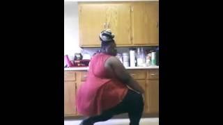 Fat woman dancing