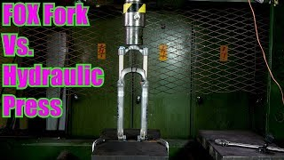 Crushing Mountain Bike Suspension Fork with Hydraulic Press