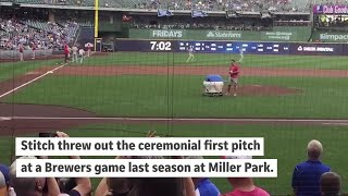 Watch a robot throw out the first pitch at a Brewers game