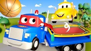 Carl the Super Truck is a TRAMPOLINE in Car City   Trucks Cartoon for kids