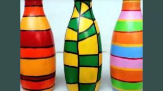 Diy Glass Bottle Art   Set Of Easy Decoration Pictures Ideas   Decraton Pics