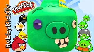 Giant KING PIG Play-Doh Lego Head Makeover with Angry Birds