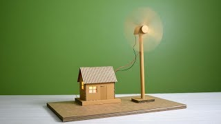 How to make working model of a wind turbine from cardboard | school project