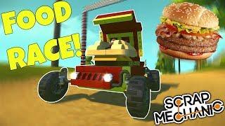 CRAZY FOOD RACE!!! - Scrap Mechanic Multiplayer Gameplay - EP 244