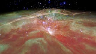 Flight through Orion Nebula in infrared light