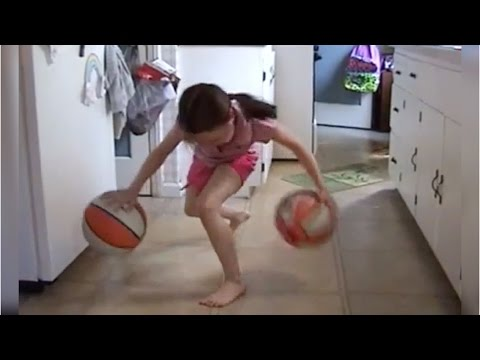 8 year old girl is incredible at dribbling basketballs!