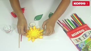 Técnica de colores Kores Acuarelle (acuarelables) sobre Foami