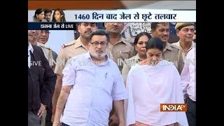 Rajesh and Nupur Talwar walk out of Dasna Jail after four years