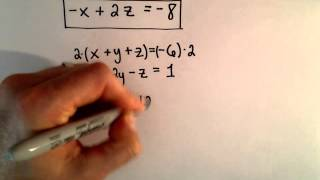 System of 3 Equations, 3 Unknowns Using Elimination- Ex 2