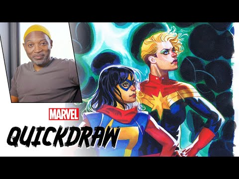 Brian Stelfreeze draws Captain Marvel & Ms. Marvel | Marvel Quickdraw