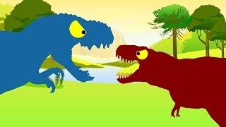 Веселые Динозаврики. Тираннозавр Рекс против Вастатозавра Рекса. Динозавры мультфильм