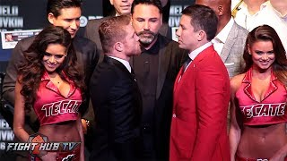 Canelo Alvarez Swings After Facing Off with Gennady Golovkin in Los Angeles!