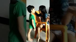Elder sister scolding her brother.funny Indian bachee
