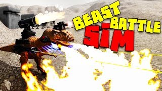 The Epic Flame Throwing, Cannon Blasting T-Rex with Lazers! - Beast Battle Simulator Gameplay